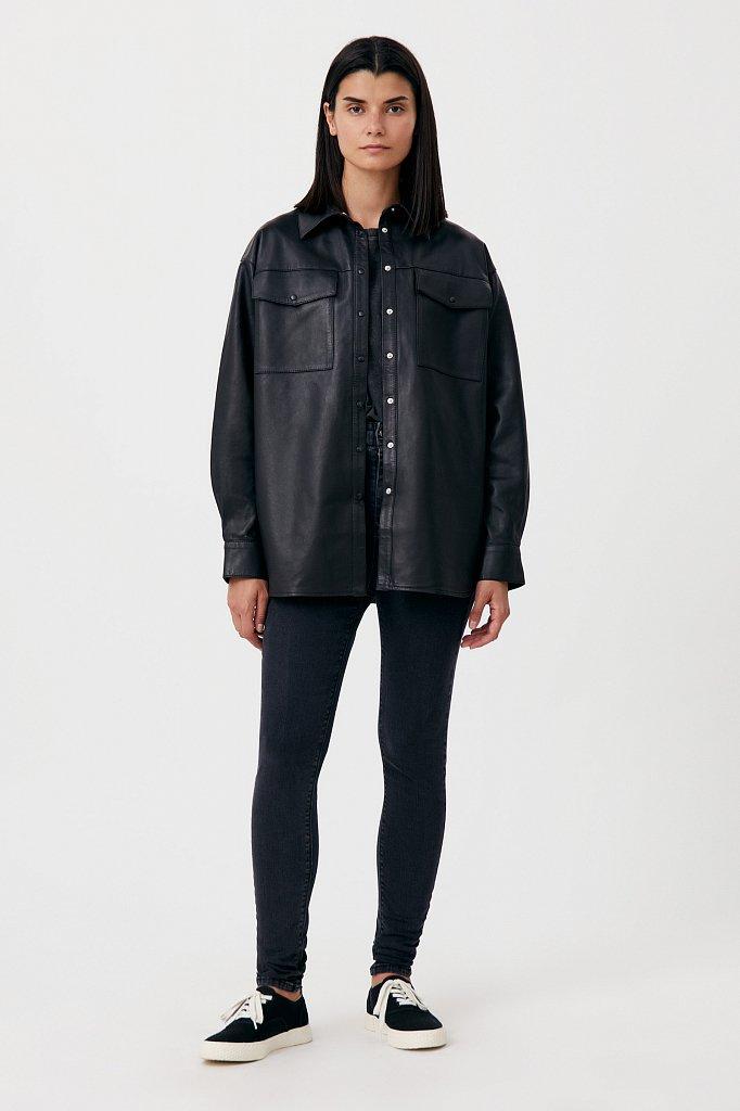 Кожаная женская рубашка оверсайз, Модель FAB11804, Фото №2