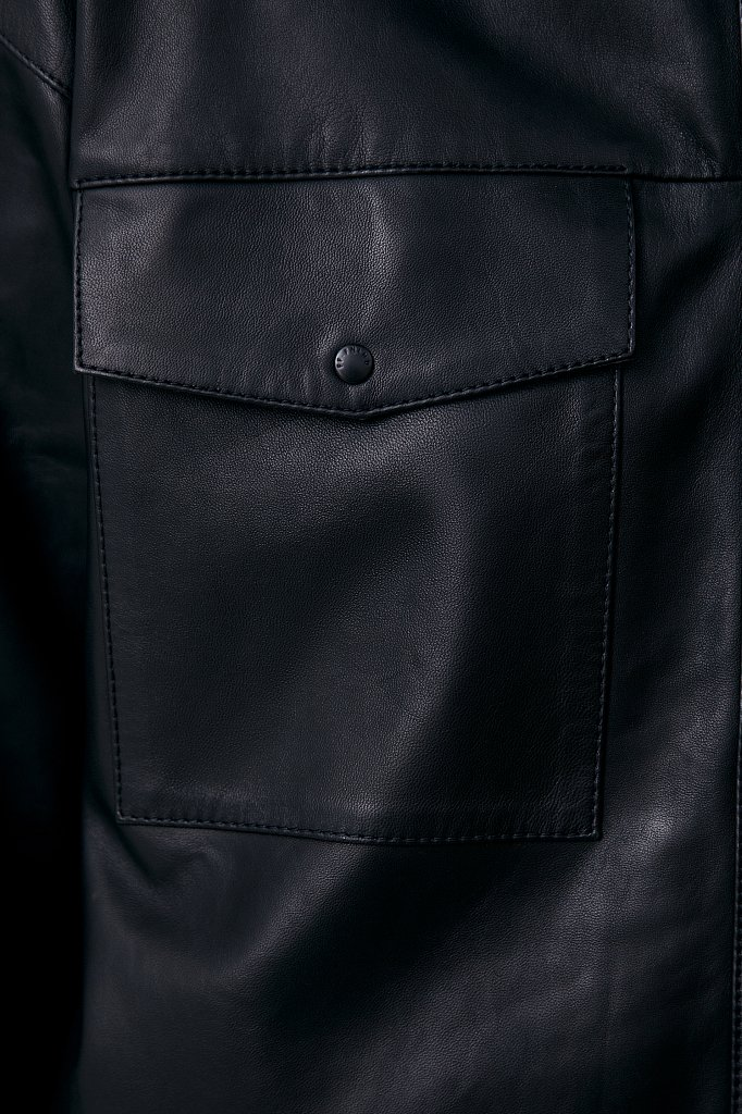Кожаная женская рубашка оверсайз, Модель FAB11804, Фото №5