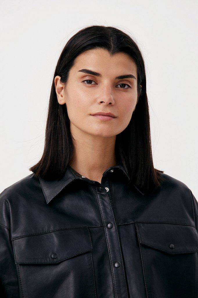 Кожаная женская рубашка оверсайз, Модель FAB11804, Фото №6