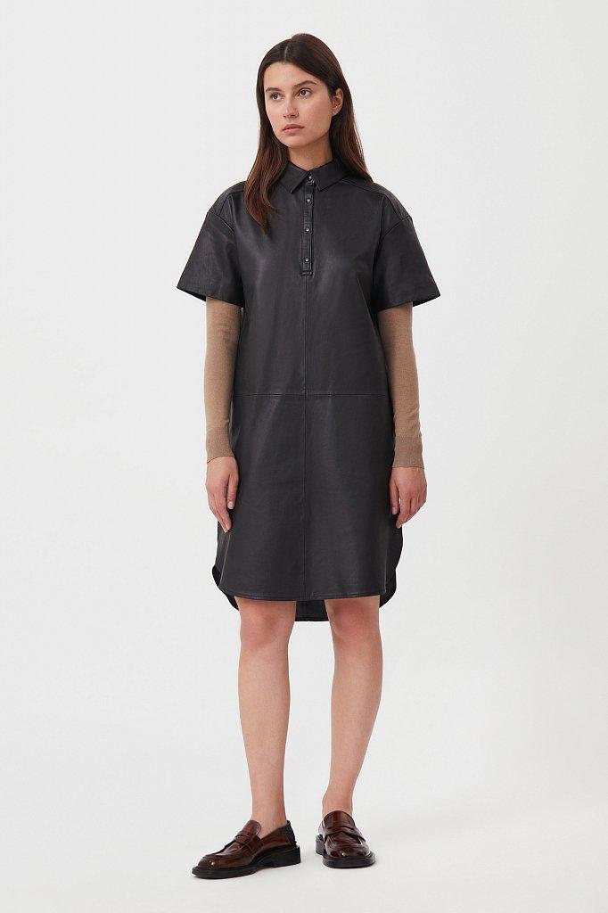 Кожаное платье прямого силуэта с воротником, Модель FAB11805, Фото №1