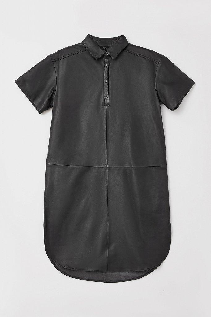Кожаное платье прямого силуэта с воротником, Модель FAB11805, Фото №7