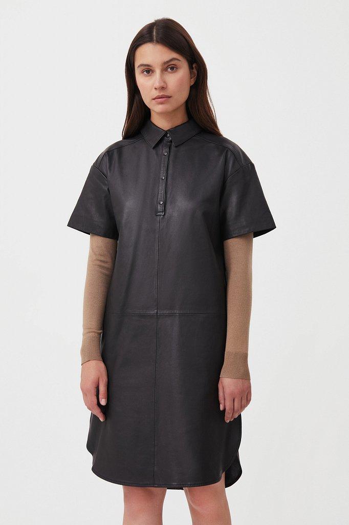 Кожаное платье прямого силуэта с воротником, Модель FAB11805, Фото №2