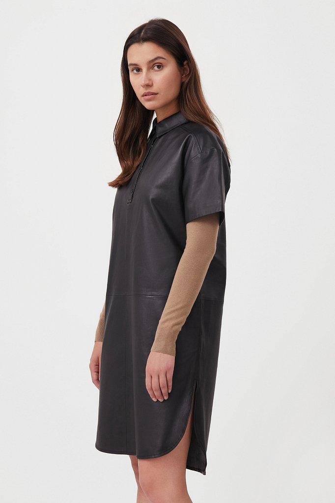 Кожаное платье прямого силуэта с воротником, Модель FAB11805, Фото №3