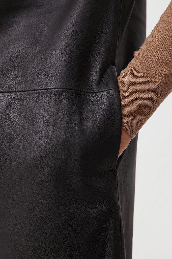 Кожаное платье прямого силуэта с воротником, Модель FAB11805, Фото №5