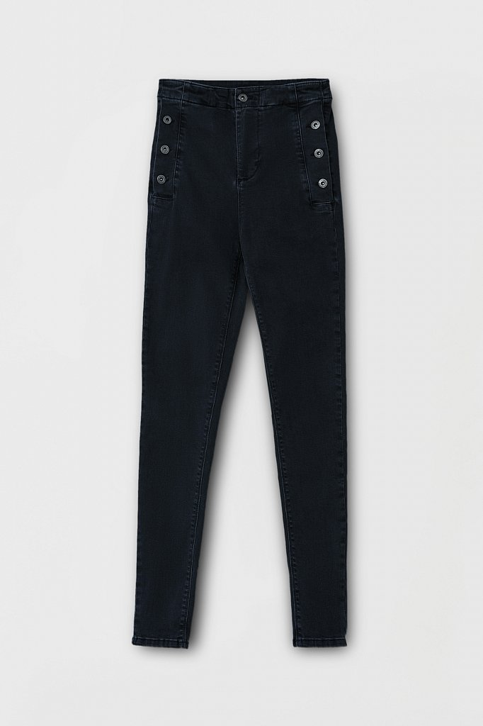 Женские джинсы slim fit с карманами на пуговицах, Модель FAB15010, Фото №6