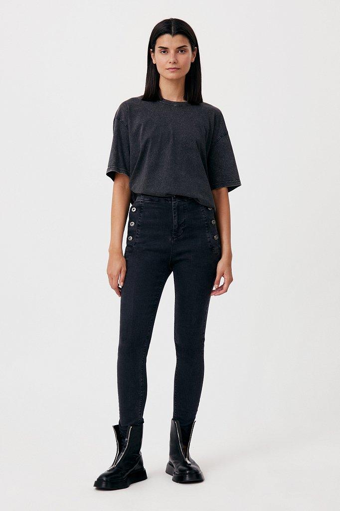 Женские джинсы slim fit с карманами на пуговицах, Модель FAB15010, Фото №1