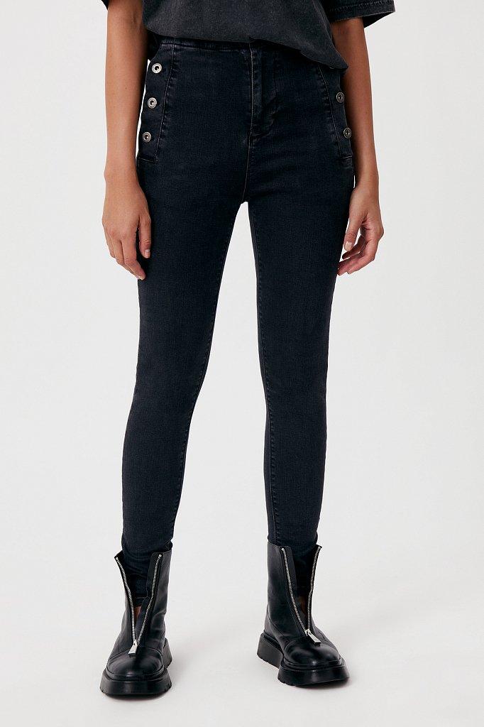Женские джинсы slim fit с карманами на пуговицах, Модель FAB15010, Фото №2