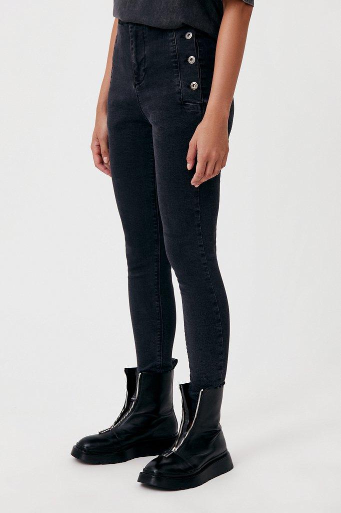 Женские джинсы slim fit с карманами на пуговицах, Модель FAB15010, Фото №3