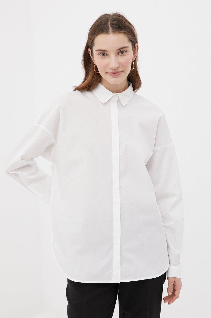 Классическая женская рубашка оверсайз из хлопка, Модель FAB110112, Фото №1