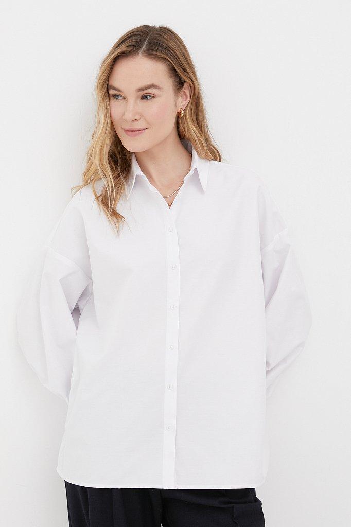 Женская рубашка оверсайз с объемными рукавами, Модель FAB110114, Фото №1