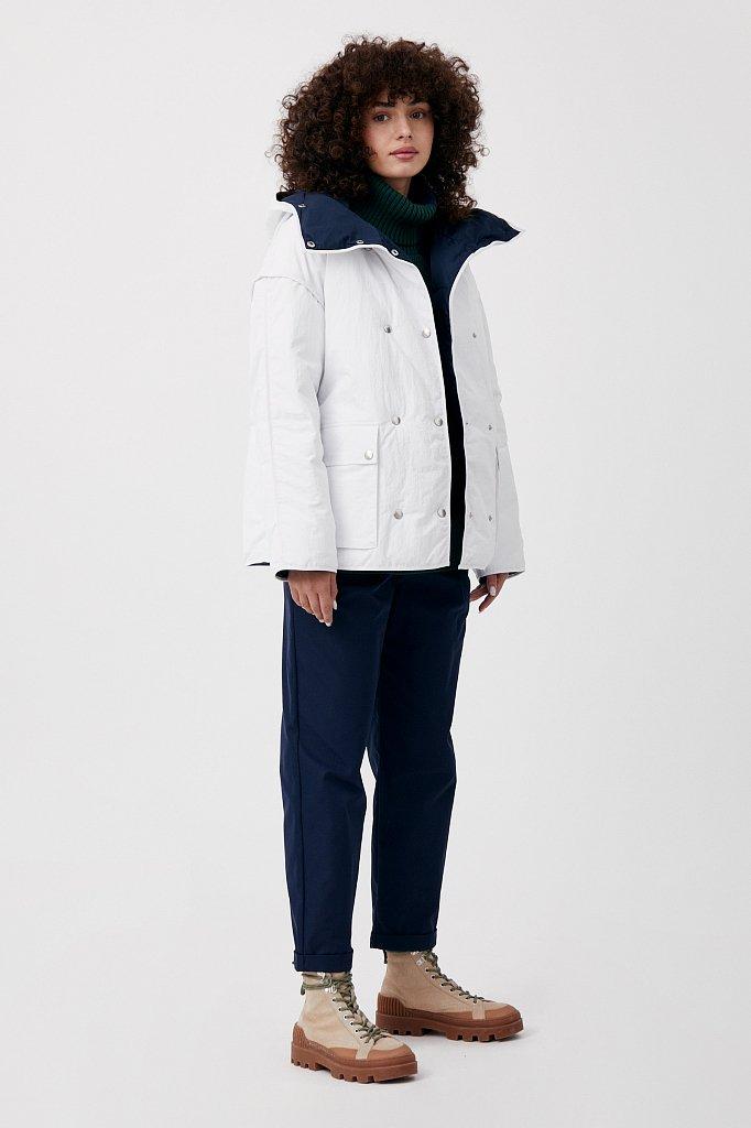 Утепленная двусторонняя куртка женская с капюшоном, Модель FAB110206, Фото №2
