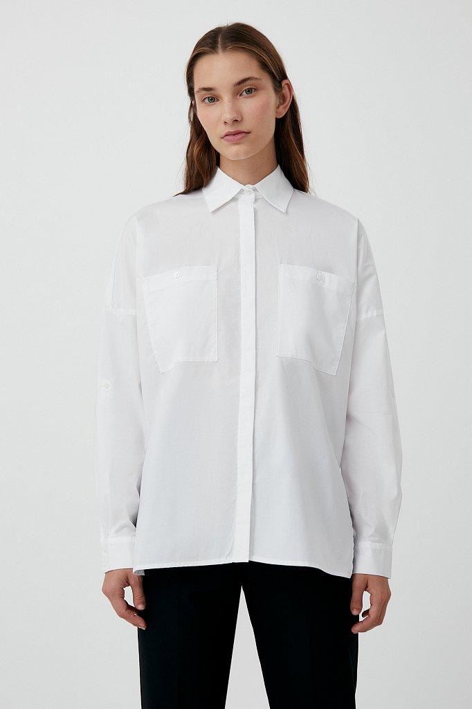 Хлопковая женская рубашка с накладными карманами, Модель FAB11026, Фото №1