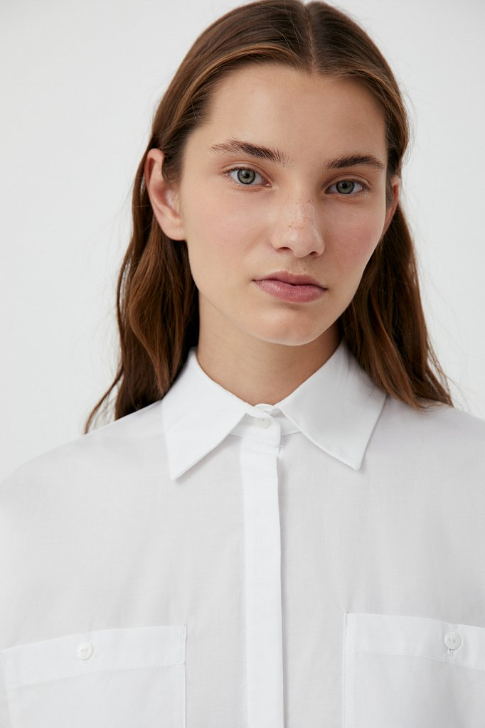 Хлопковая женская рубашка с накладными карманами, Модель FAB11026, Фото №6