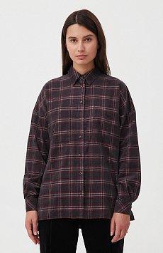 Вельветовая женская рубашка в клетку оверсайз FAB110115