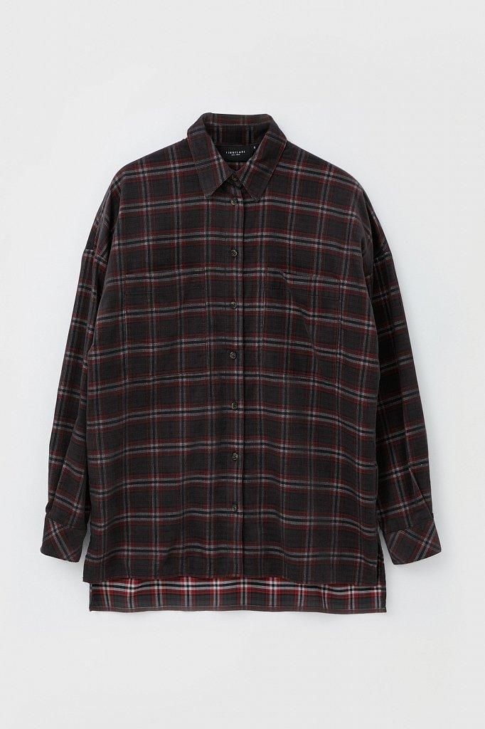 Вельветовая женская рубашка в клетку оверсайз, Модель FAB110115, Фото №7