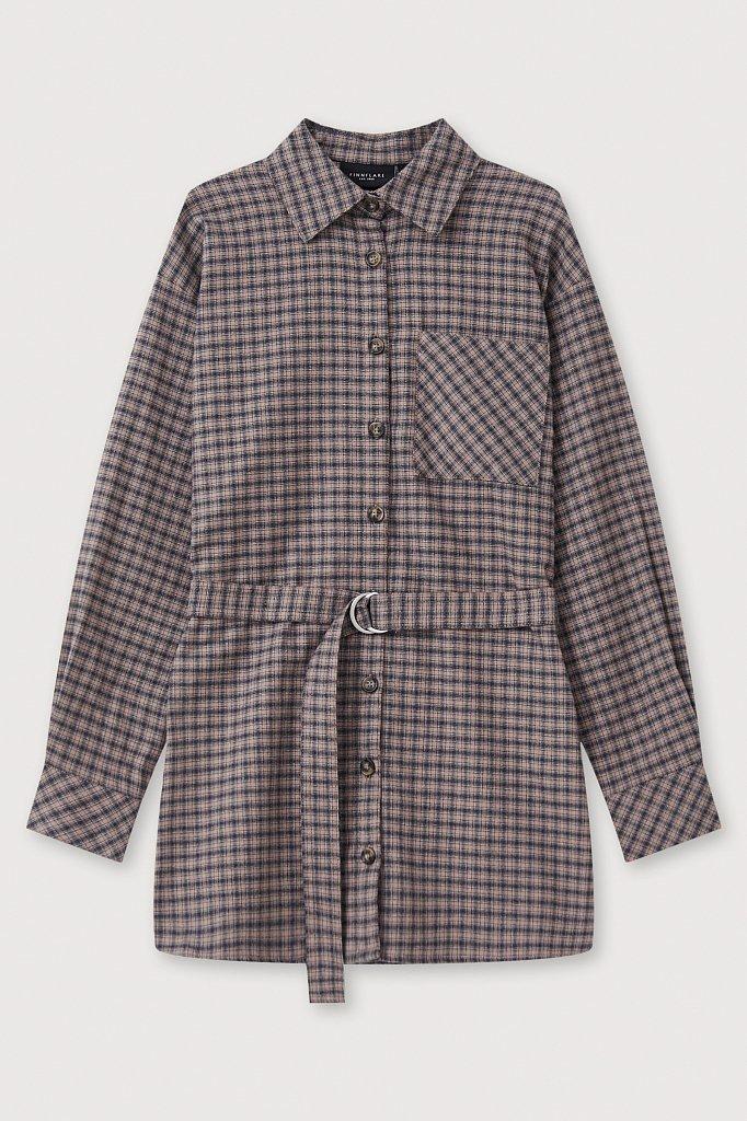 Рубашка женская в клетку из 100% хлопка с поясом, Модель FAB110204, Фото №7