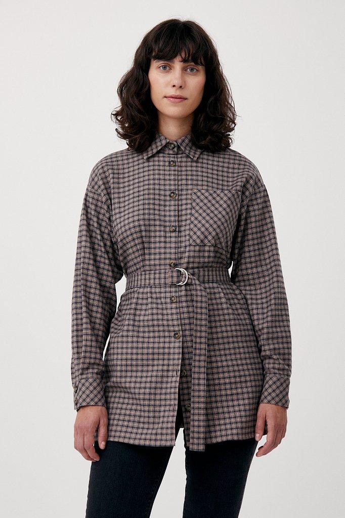 Рубашка женская в клетку из 100% хлопка с поясом, Модель FAB110204, Фото №1