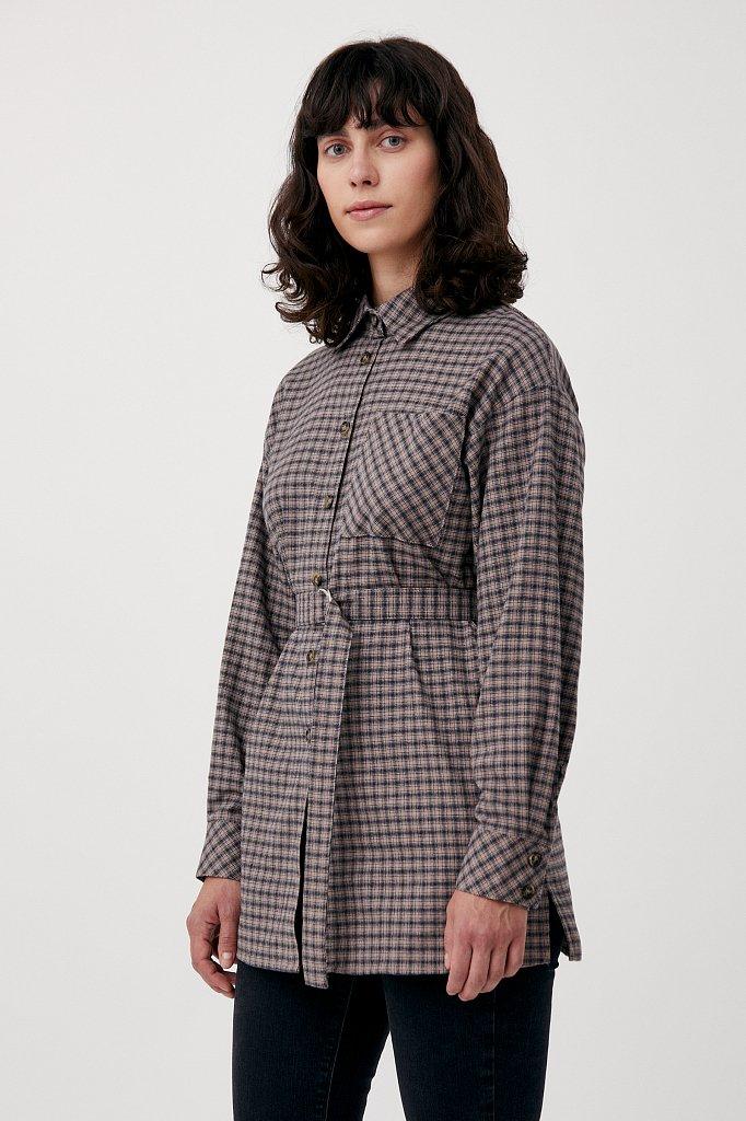 Рубашка женская в клетку из 100% хлопка с поясом, Модель FAB110204, Фото №3