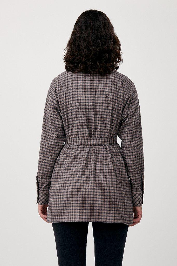 Рубашка женская в клетку из 100% хлопка с поясом, Модель FAB110204, Фото №4