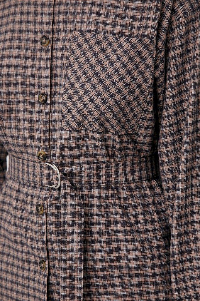 Рубашка женская в клетку из 100% хлопка с поясом, Модель FAB110204, Фото №6