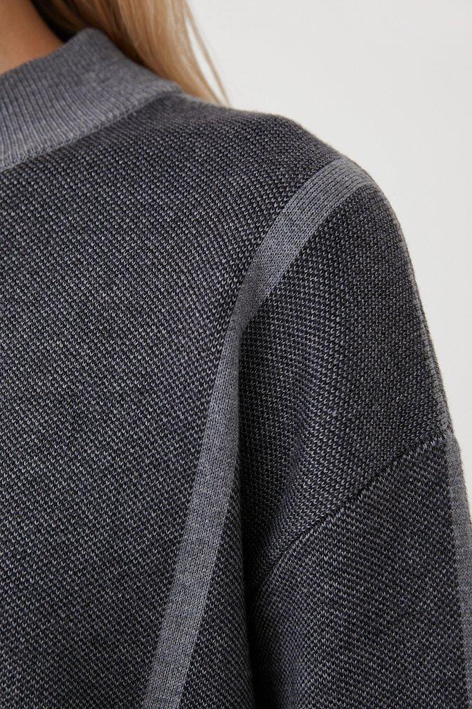 Женский жаккардовый джемпер с шерстью оверсайз, Модель FAB11182, Фото №5