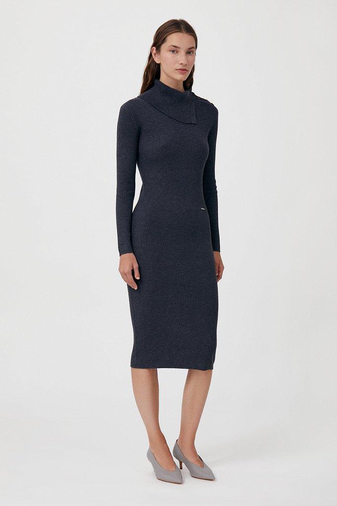 Трикотажное платье с шерстью с отложным воротником, Модель FAB11192, Фото №3