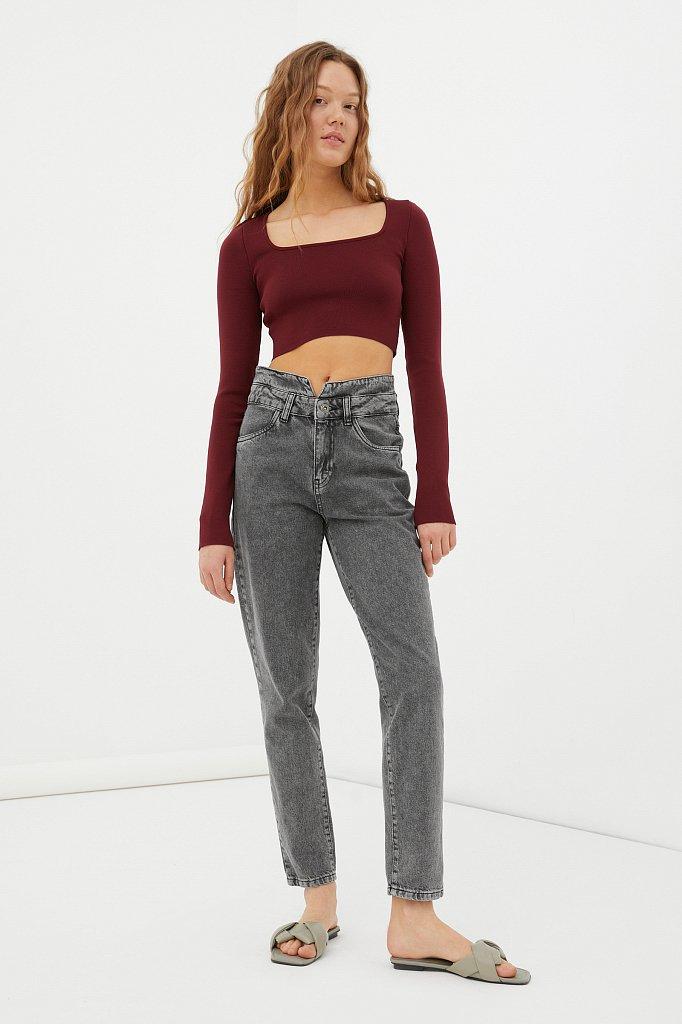 """Женские джинсы tapered fit с """"двойным"""" поясом, Модель FAB15014, Фото №1"""
