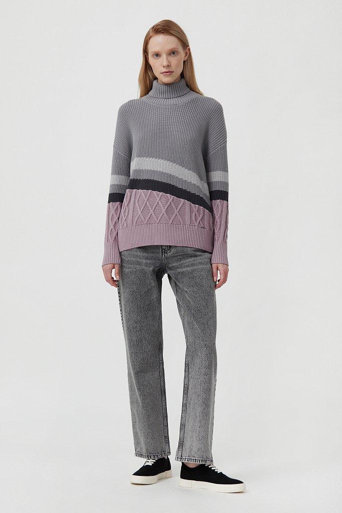 Женский свитер с различными вязанными узорами, Модель FAB11124, Фото №2