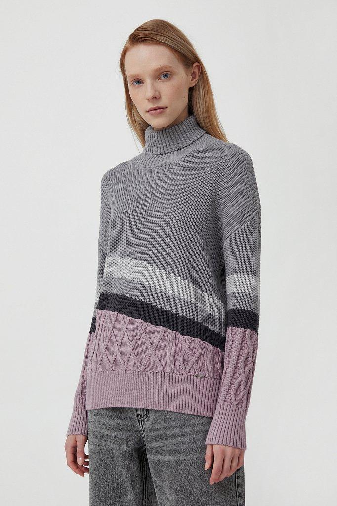 Женский свитер с различными вязанными узорами, Модель FAB11124, Фото №3
