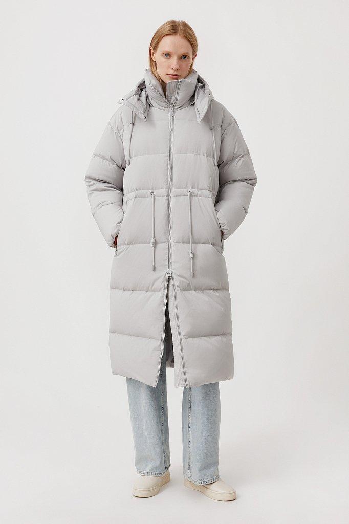 Пуховое женское пальто свободного кроя, Модель FAB110183, Фото №2