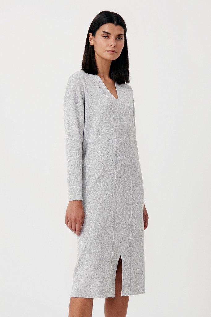 Женское трикотажное платье прямого кроя с шерстью, Модель FAB11190, Фото №3