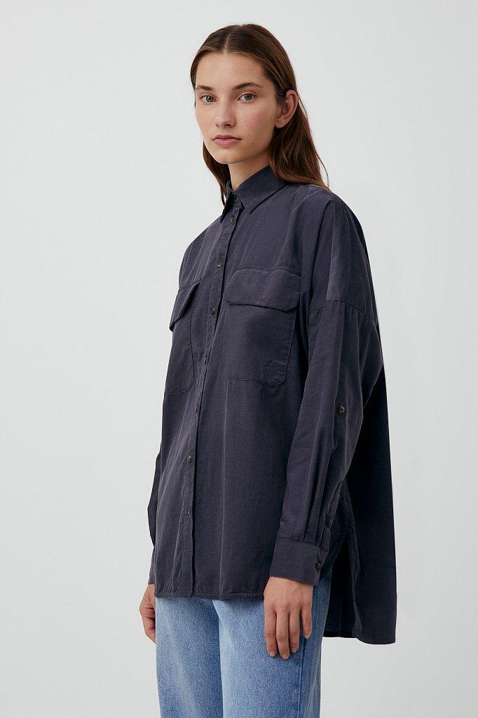 Вельветовая женская рубашка оверсайз с карманами, Модель FAB11047, Фото №3