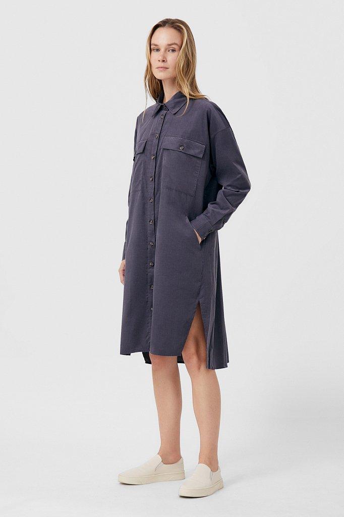 Вельветовое женское платье-рубашка оверсайз, Модель FAB11050, Фото №2