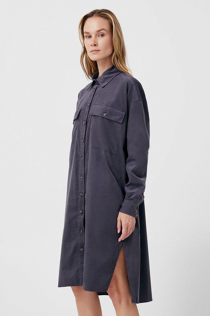 Вельветовое женское платье-рубашка оверсайз, Модель FAB11050, Фото №3