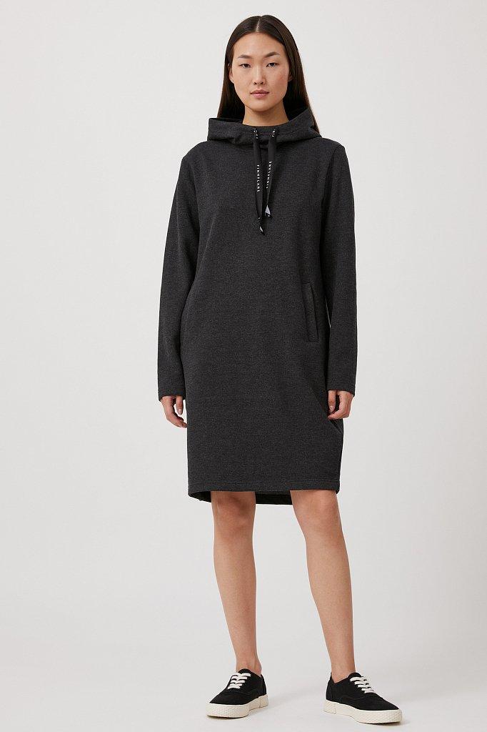 Свободное платье в спортивном стиле с капюшоном, Модель FAB110210, Фото №2