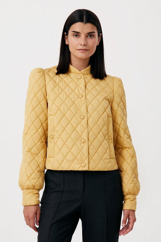 Стеганая женская куртка с объемными рукавами, Модель FAB110136, Фото №1