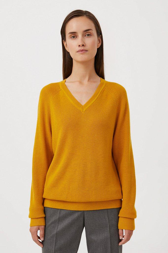 Женский базовый пуловер прямого силуэта с шерстью, Модель FAB111114, Фото №1