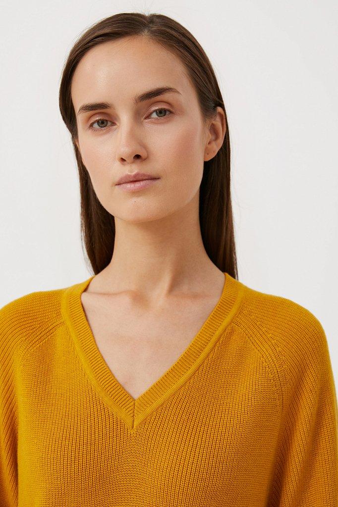 Женский базовый пуловер прямого силуэта с шерстью, Модель FAB111114, Фото №6