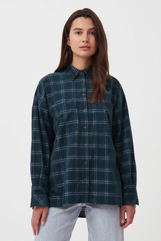 Вельветовая женская рубашка в клетку оверсайз, Модель FAB110115, Фото №1