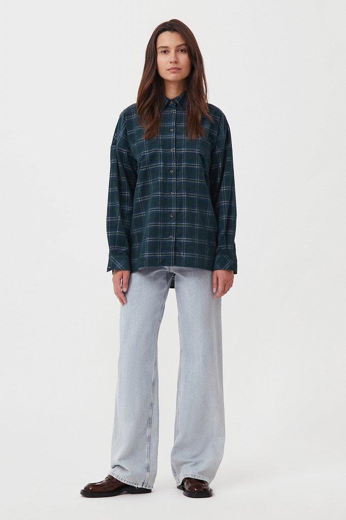 Вельветовая женская рубашка в клетку оверсайз, Модель FAB110115, Фото №2