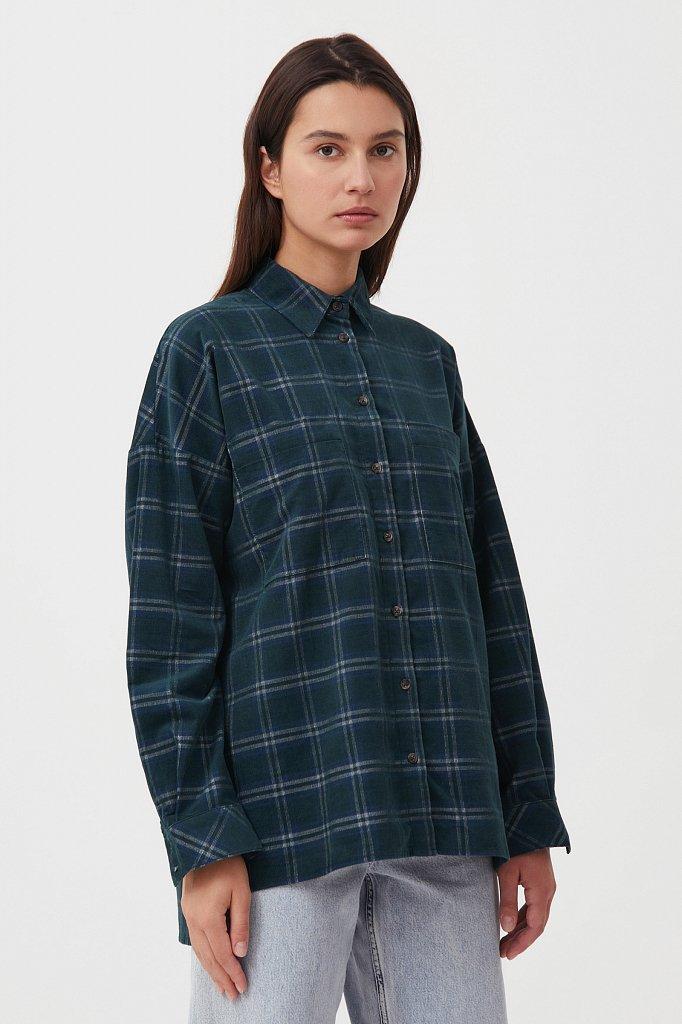 Вельветовая женская рубашка в клетку оверсайз, Модель FAB110115, Фото №3