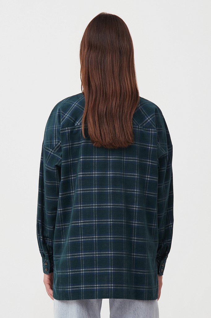 Вельветовая женская рубашка в клетку оверсайз, Модель FAB110115, Фото №4