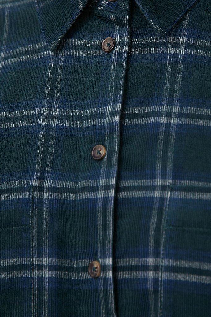 Вельветовая женская рубашка в клетку оверсайз, Модель FAB110115, Фото №5