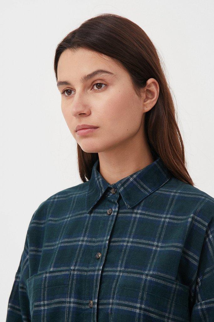 Вельветовая женская рубашка в клетку оверсайз, Модель FAB110115, Фото №6