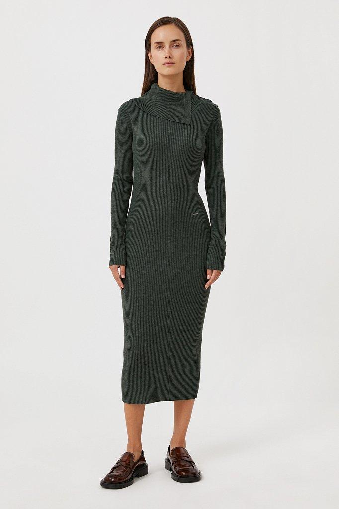 Трикотажное платье с шерстью с отложным воротником, Модель FAB11192, Фото №1