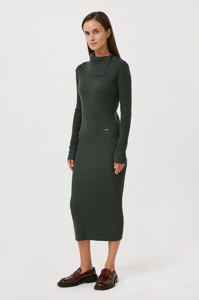 Трикотажное платье с шерстью с отложным воротником, Модель FAB11192, Фото №2