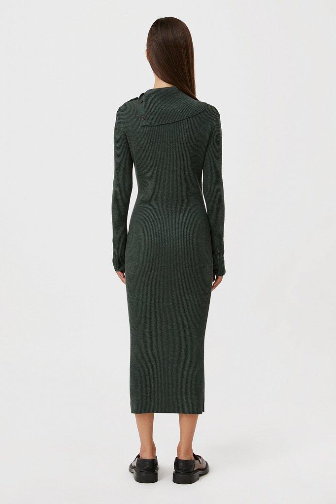 Трикотажное платье с шерстью с отложным воротником, Модель FAB11192, Фото №4