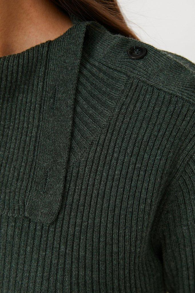 Трикотажное платье с шерстью с отложным воротником, Модель FAB11192, Фото №5