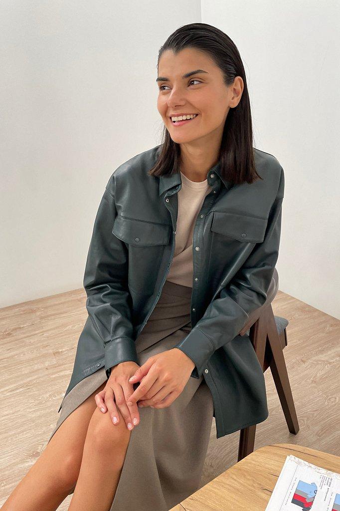 Кожаная женская рубашка оверсайз, Модель FAB11804, Фото №1