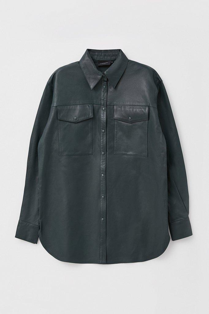 Кожаная женская рубашка оверсайз, Модель FAB11804, Фото №8